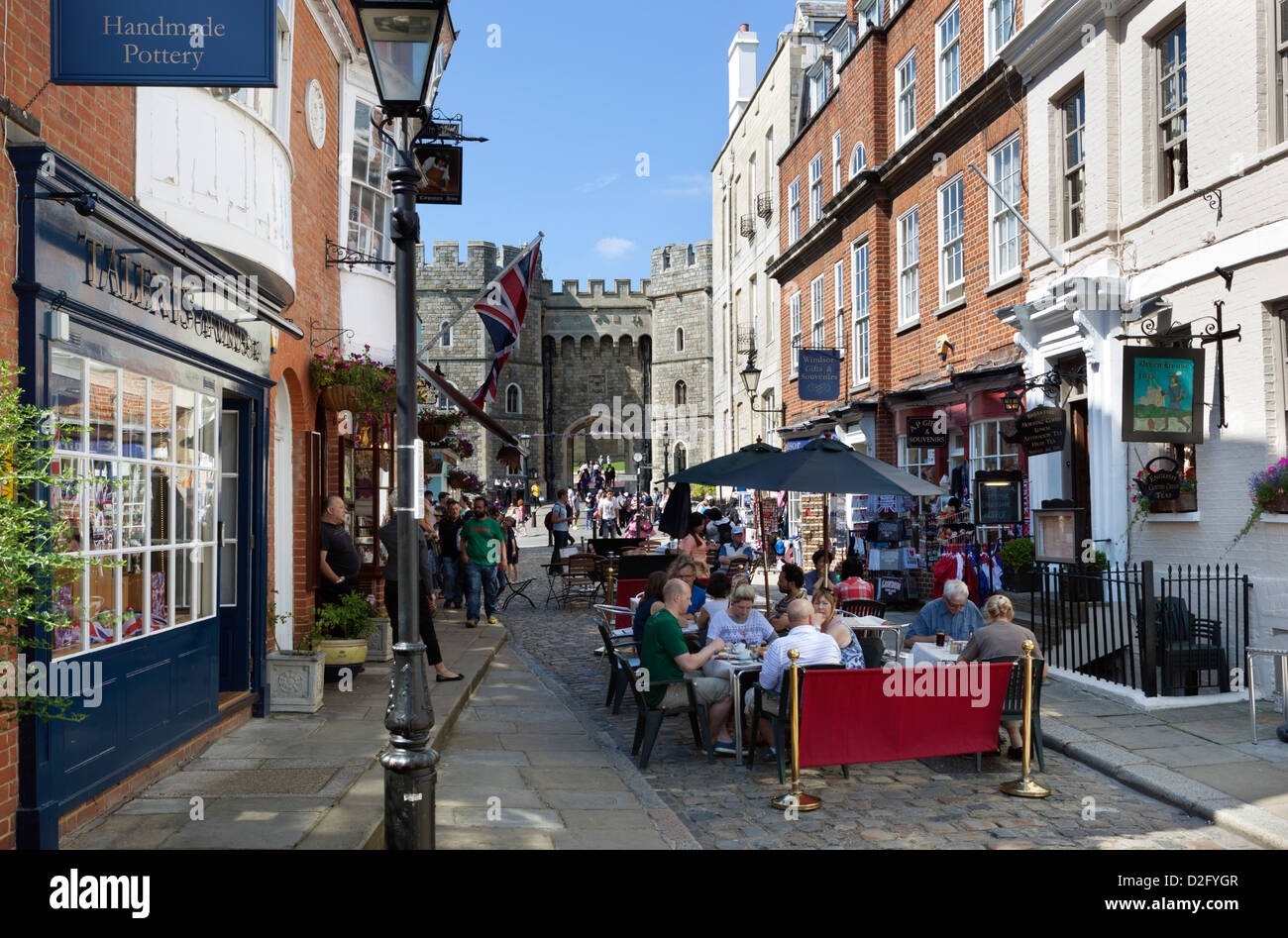 Cafes and souvenir shops by Windsor Castle - Stock Image