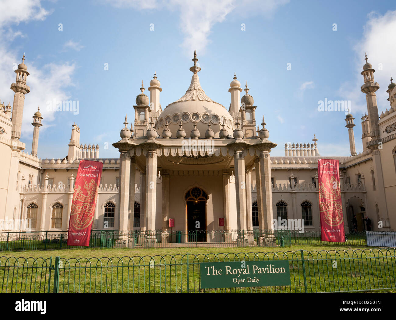 Entrance to the historic old Royal Pavilion in Brighton, West Sussex, England, UK - Stock Image