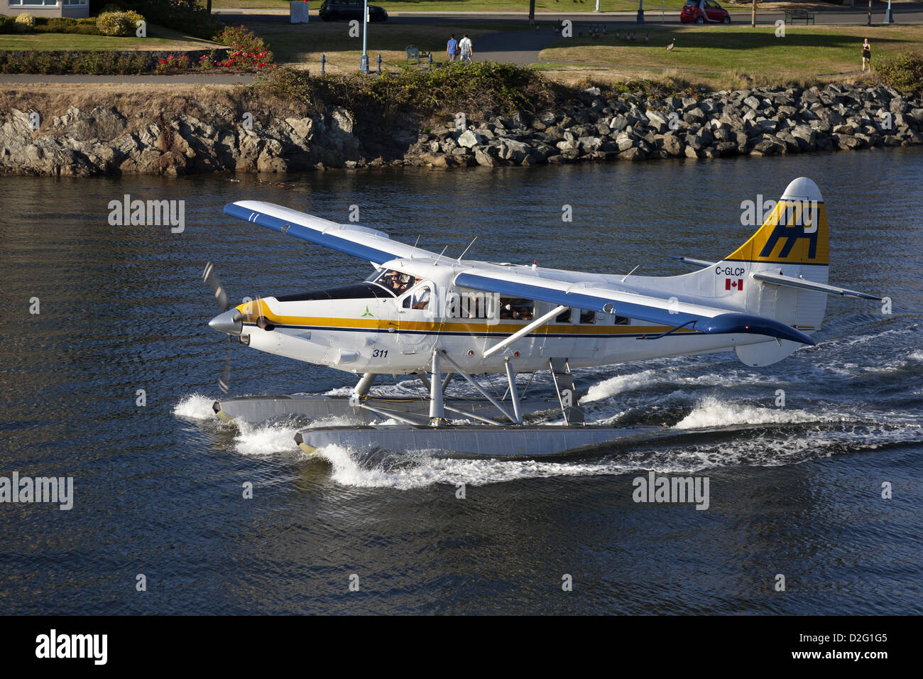 DeHavilland DHC-3 Turbine Single Otter floatplane taxiing in harbour at Victoria, Vancouver Island, British Columbia, - Stock Image
