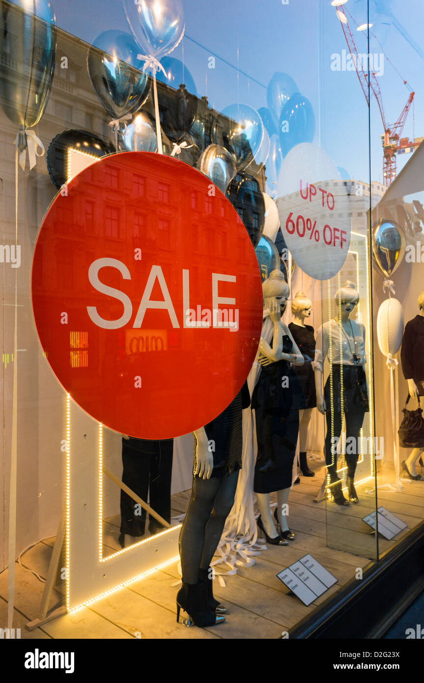 Sale sign in a store window, UK - Stock Image