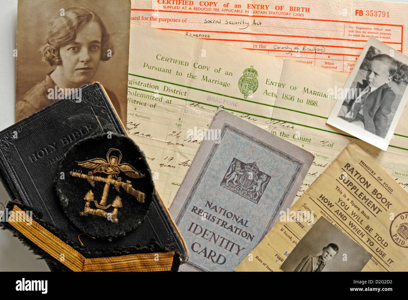 Concept shot of family history related items - Stock Image
