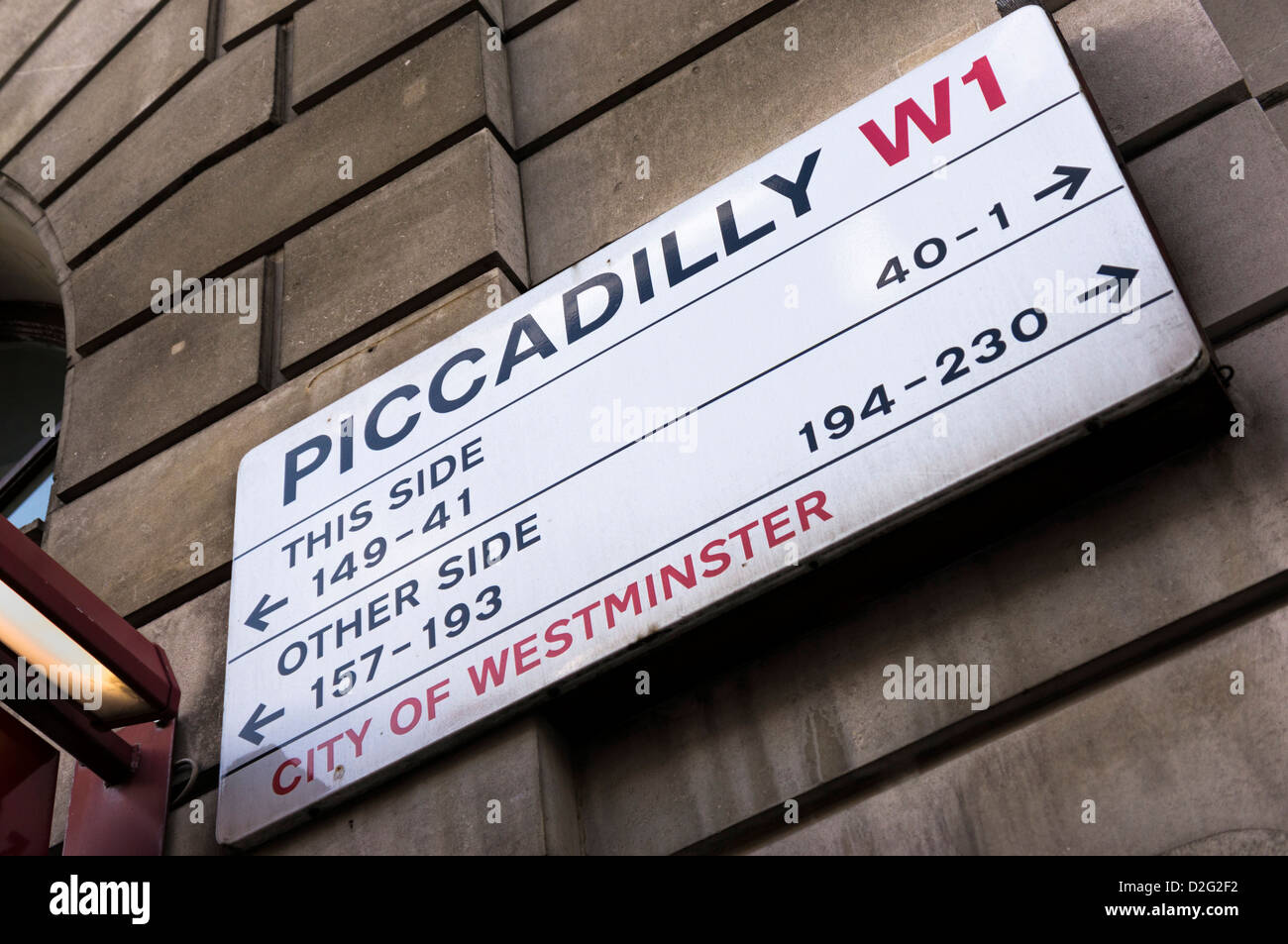 Piccadilly street sign, London, UK - Stock Image