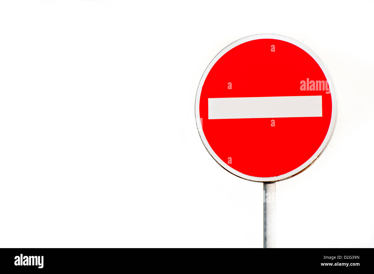 no entry road sign isolated - Stock Image