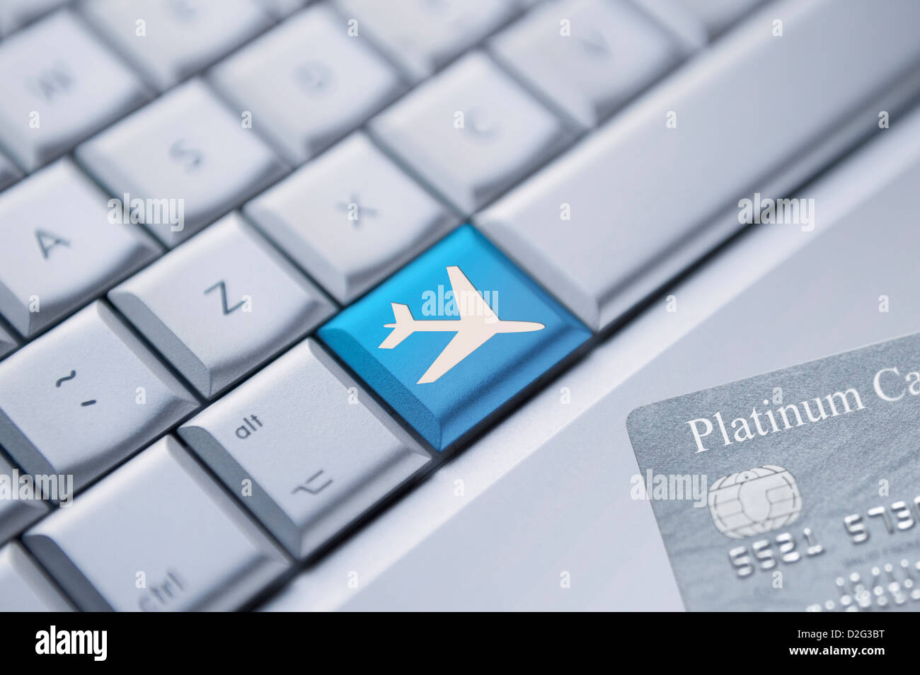 Booking flights / holiday online - Stock Image