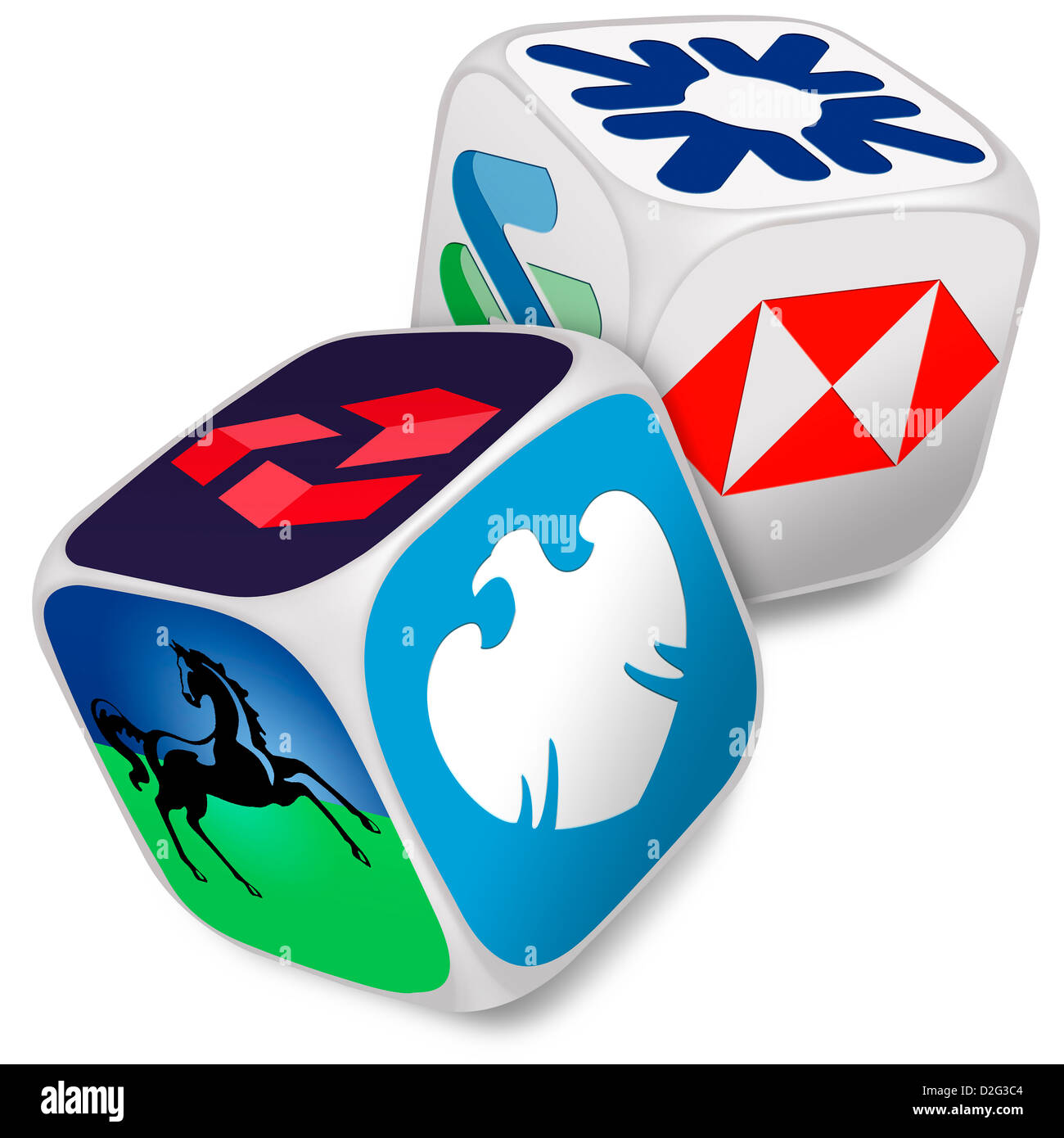 Pair of dice with the logos of the six top UK banks on their faces - Banking / choice / bank / gambling / risk concept - Stock Image