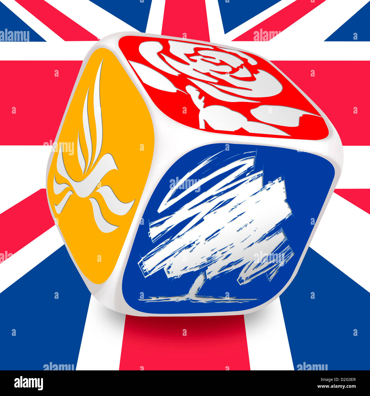 Dice with the logos of the three main UK political parties on a Union Jack background - Stock Image