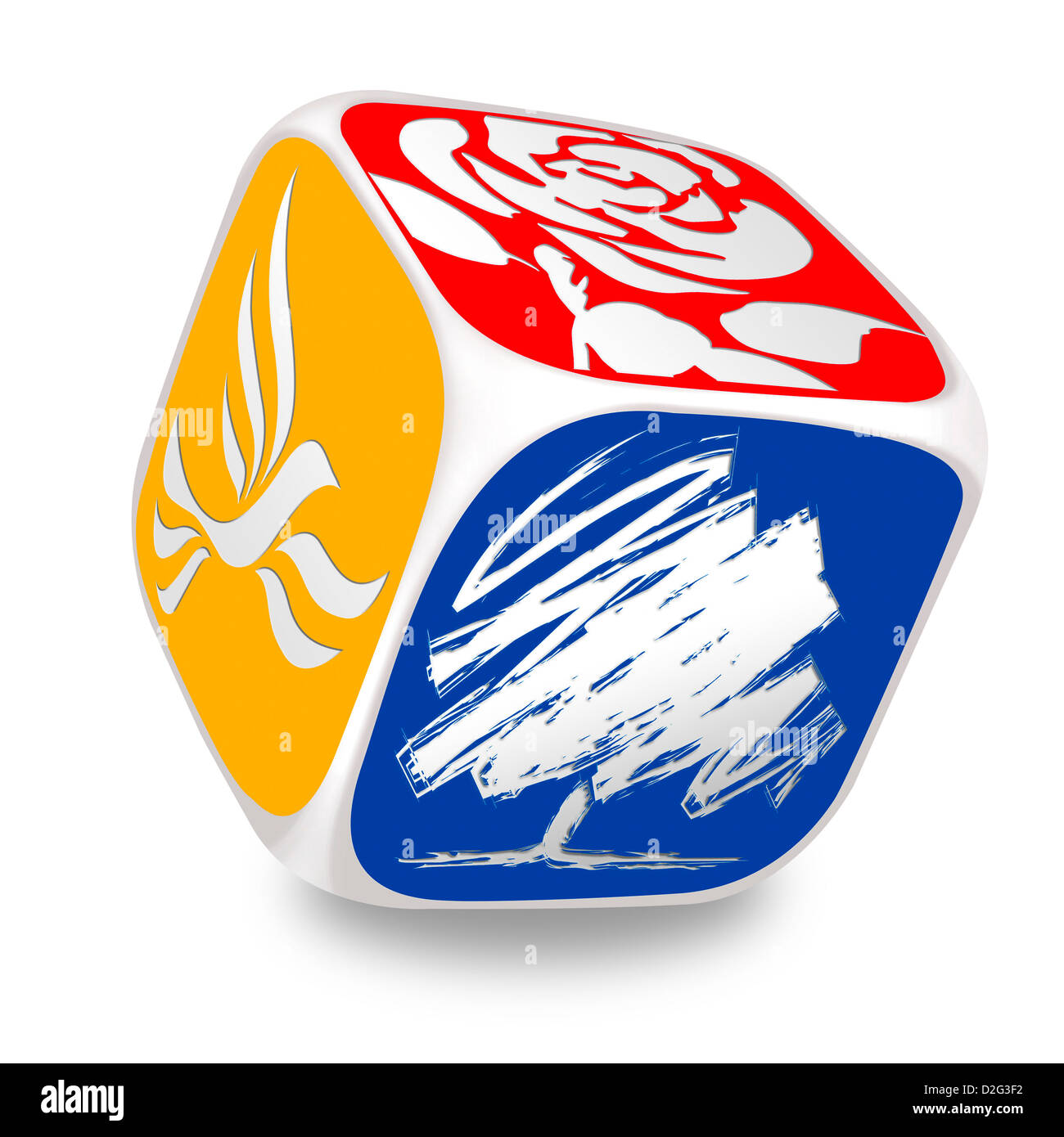 Dice with the symbols of the main UK political parties on each side. Labour, Conservative & Liberal Democrats - Stock Image