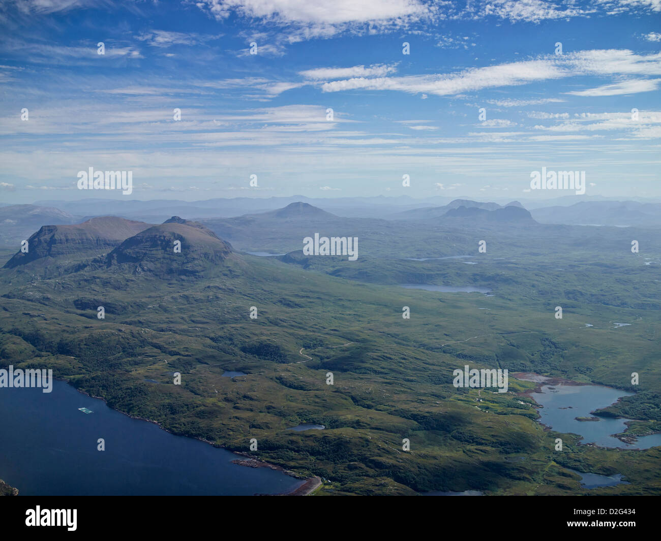 A wonderful panorama shot from the air of Loch Laxford with Ben Hope, Ben Kilbreck and Ben Mor Assynt, Sutherland, Stock Photo