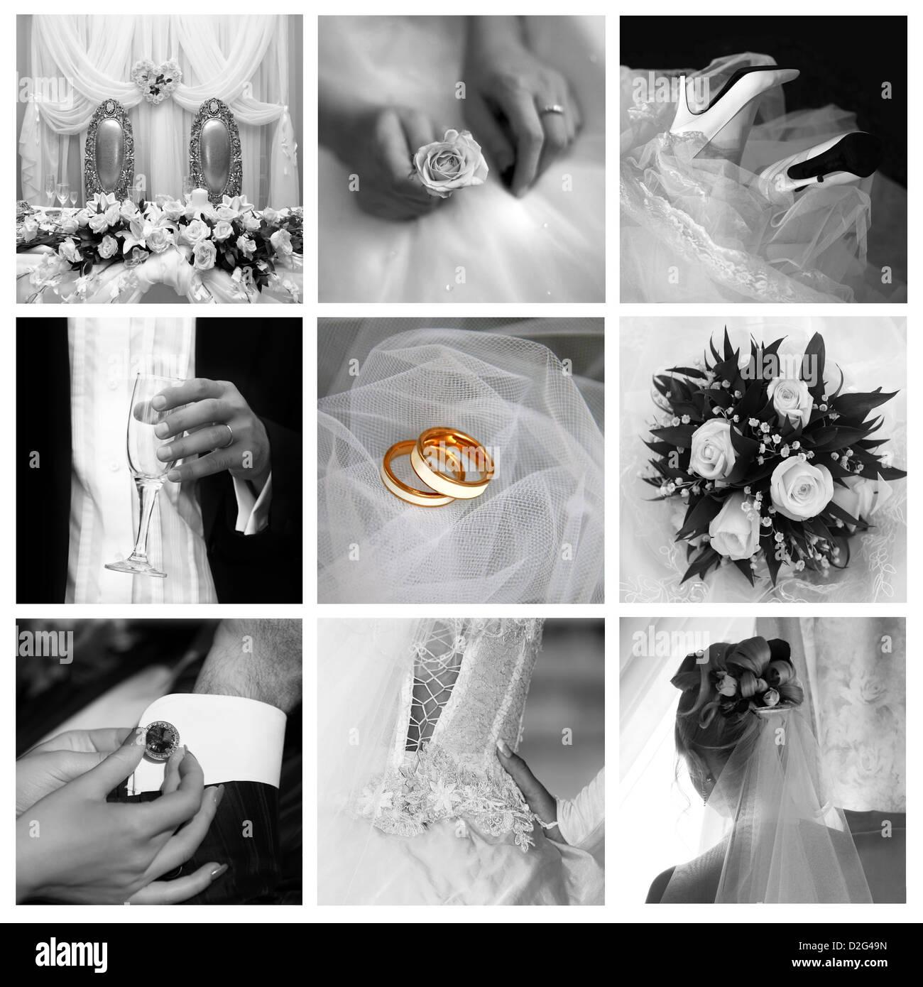 Collage of nine wedding photos in gentle  - Stock Image