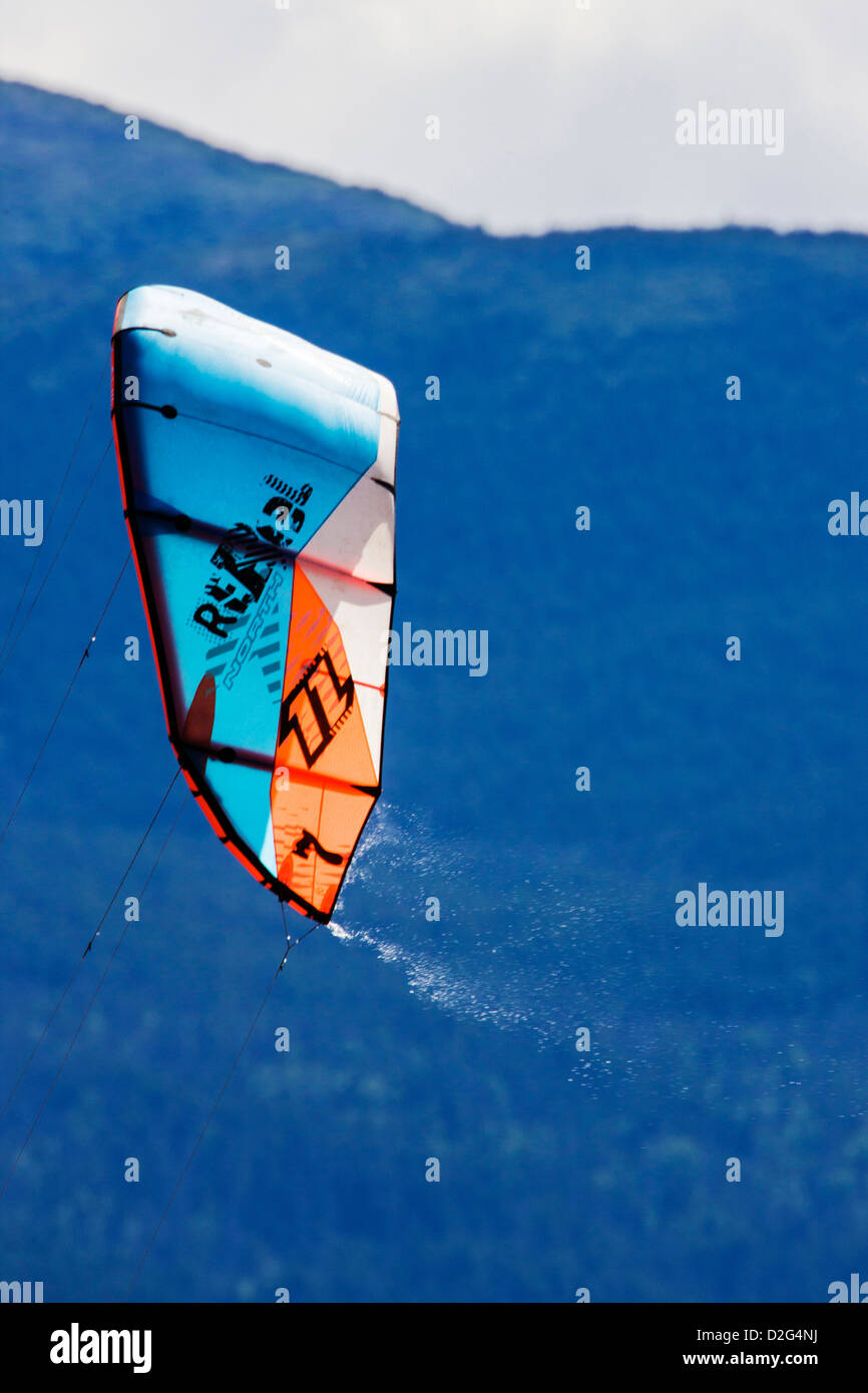 Close-up of kitesurfing sail on Turnagain Arm, Kenai Peninsula, Alaska, USA - Stock Image