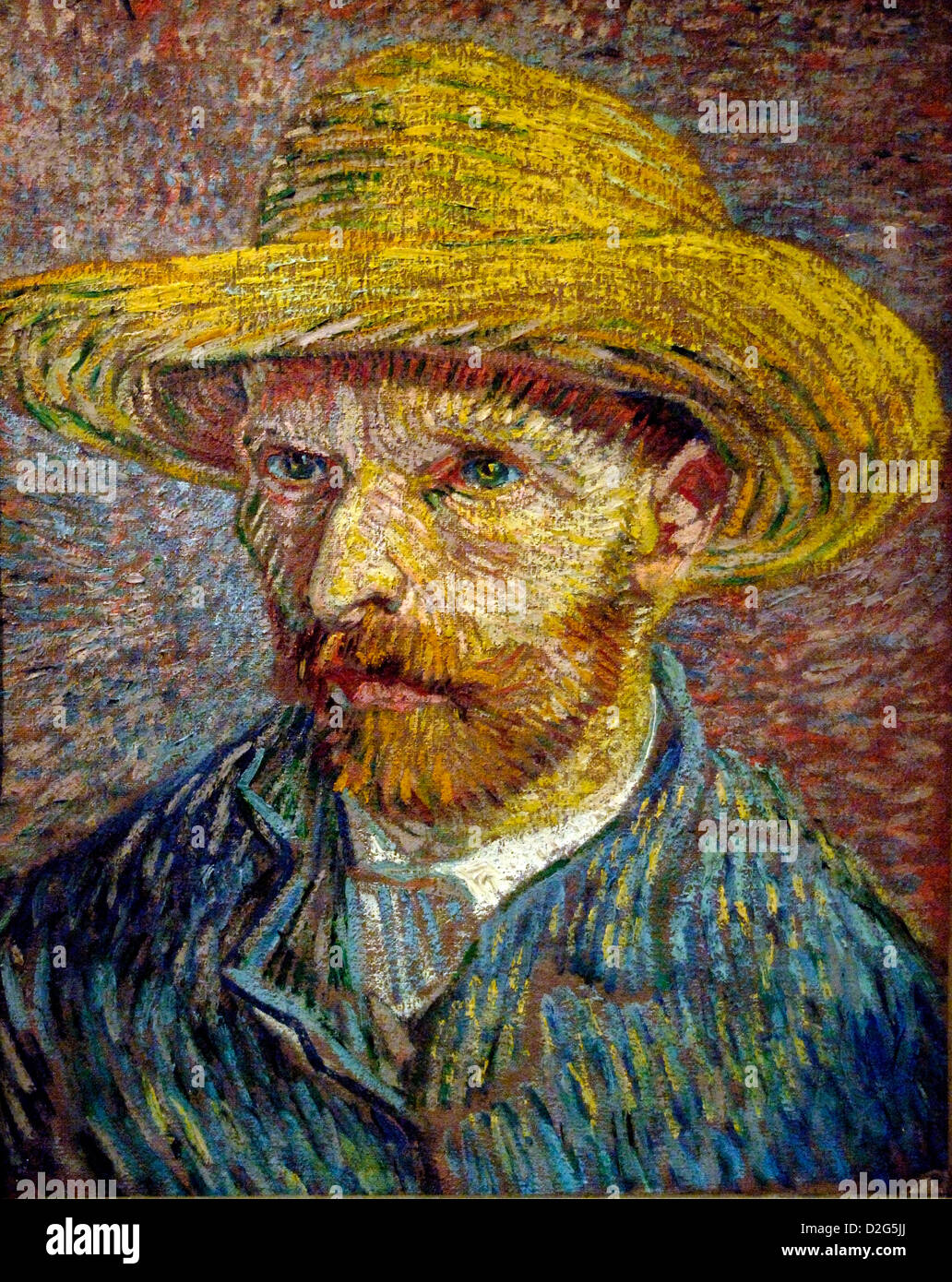 Vincent Van Gogh 'Self-Portrait with a Straw Hat' 1887 - Stock Image