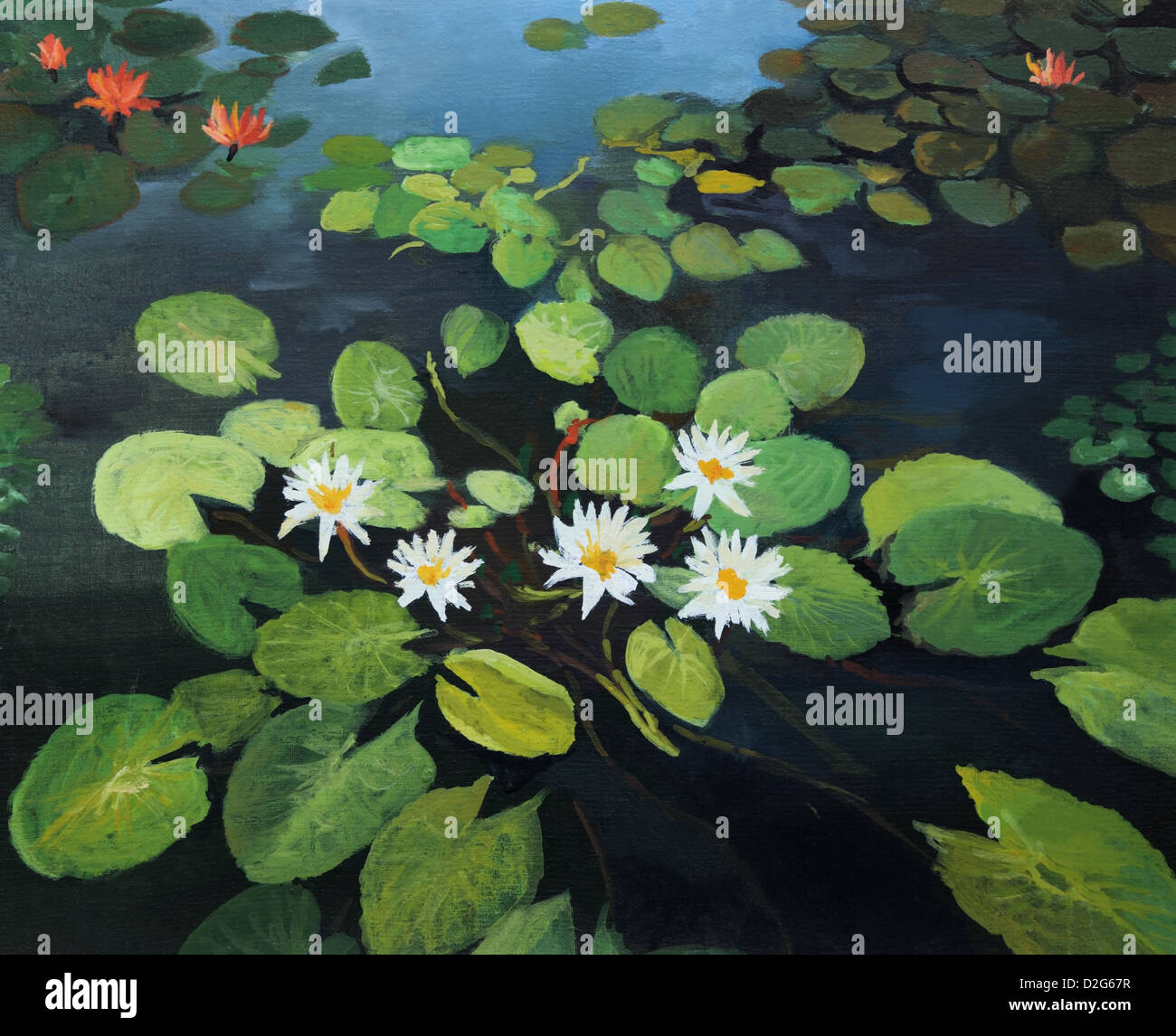 Oil painting beautiful flowers artwork stock photos oil painting an oil painting on canvas of a colorful pond with beautiful water lilies lotus flowers izmirmasajfo