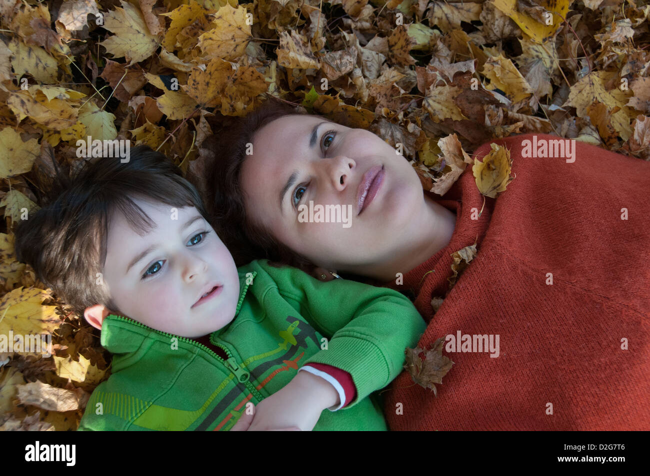 Mother and son Autumn portrait - Stock Image