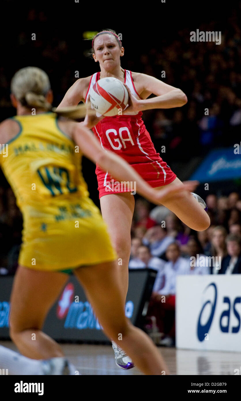 London, UK. 23rd January 2013.  Joanne Harten (GA) in action during the International Netball Series 2nd Test Match - Stock Image