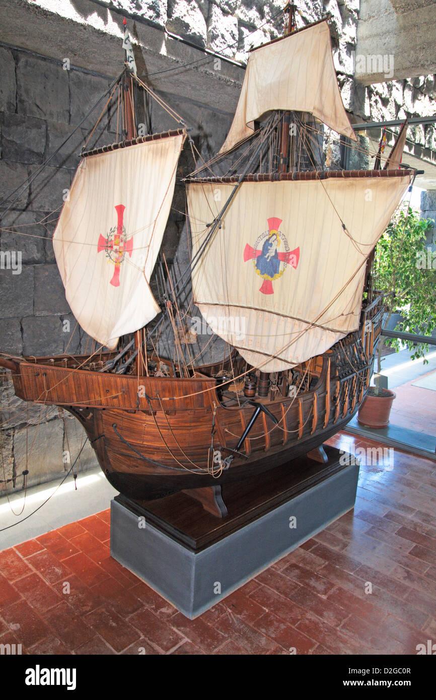 Caravel replica of the spanish conquest of America in Casa Chacona Museum. Guimar municipality (Tenerife island) - Stock Image