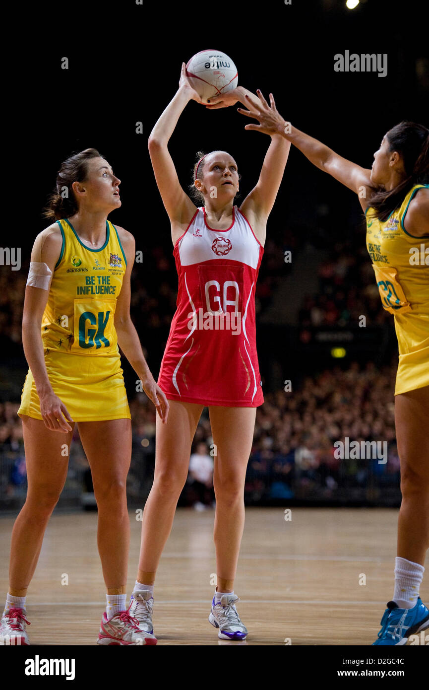 23.01.2013 London, England.  Joanne Harten (GA) in action during the International Netball Series 2nd Test Match - Stock Image