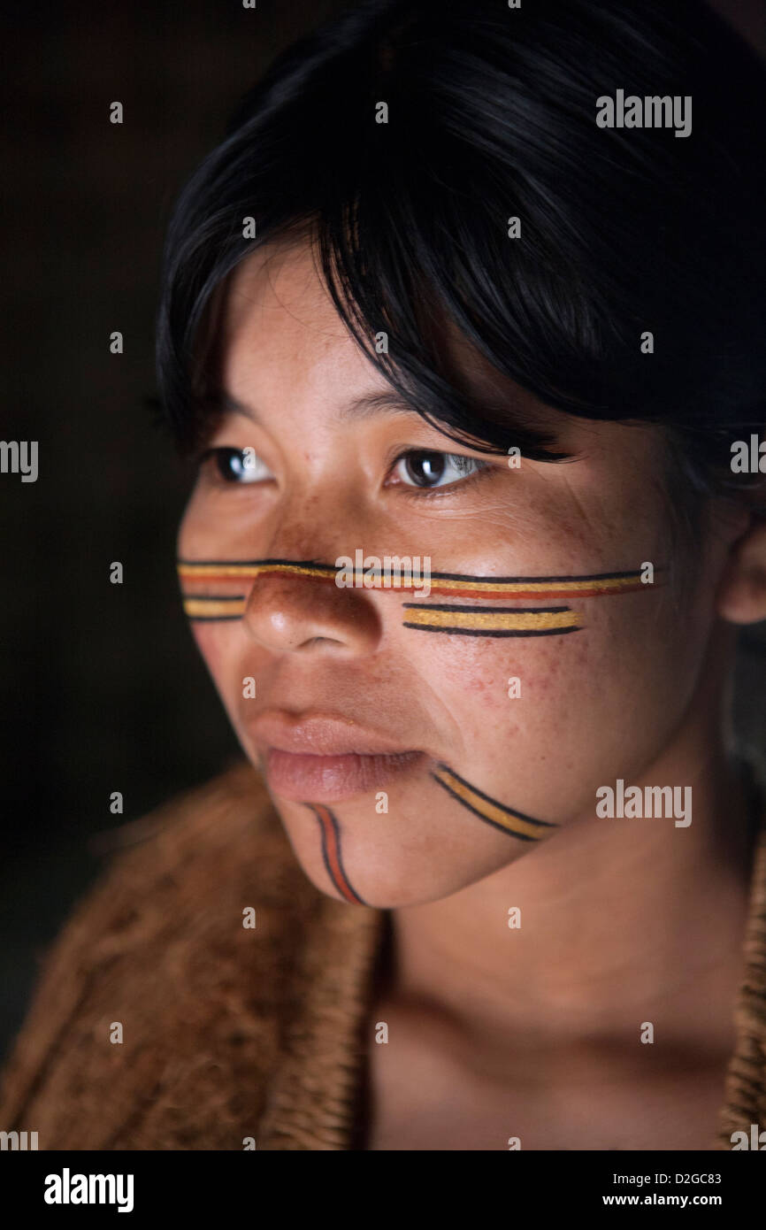 A Pataxo indigenous woman from Bahia, Brazil - Stock Image