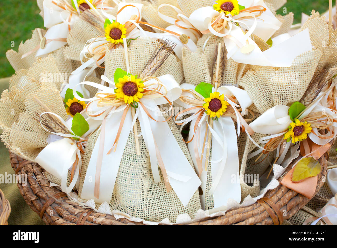 Wedding gifts stock photos wedding gifts stock images alamy jute wedding gifts with sunflowers stock image negle Gallery