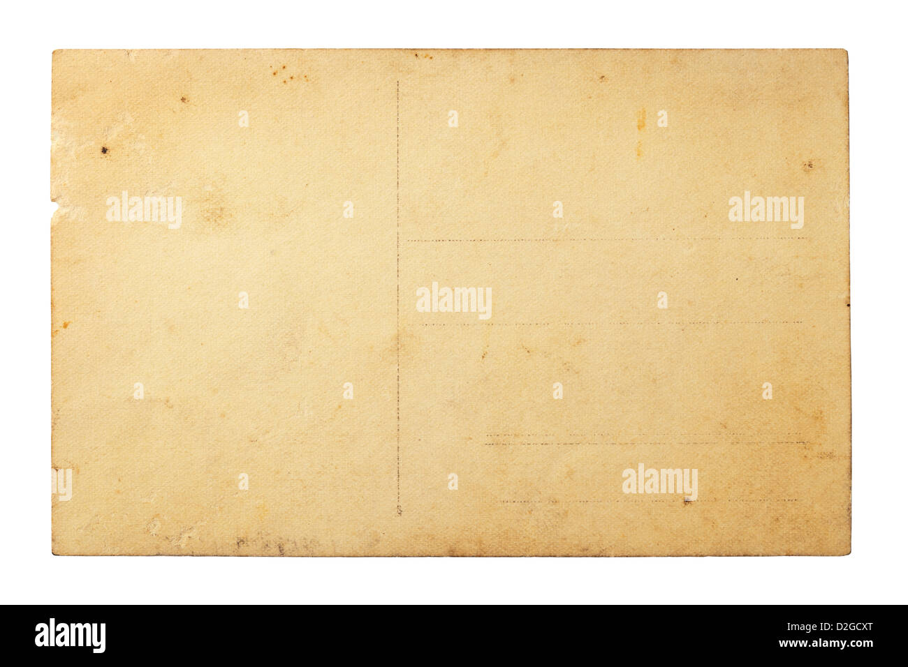 Old Vintage Postcard Isolated On White Reverse Side Close Up Top View