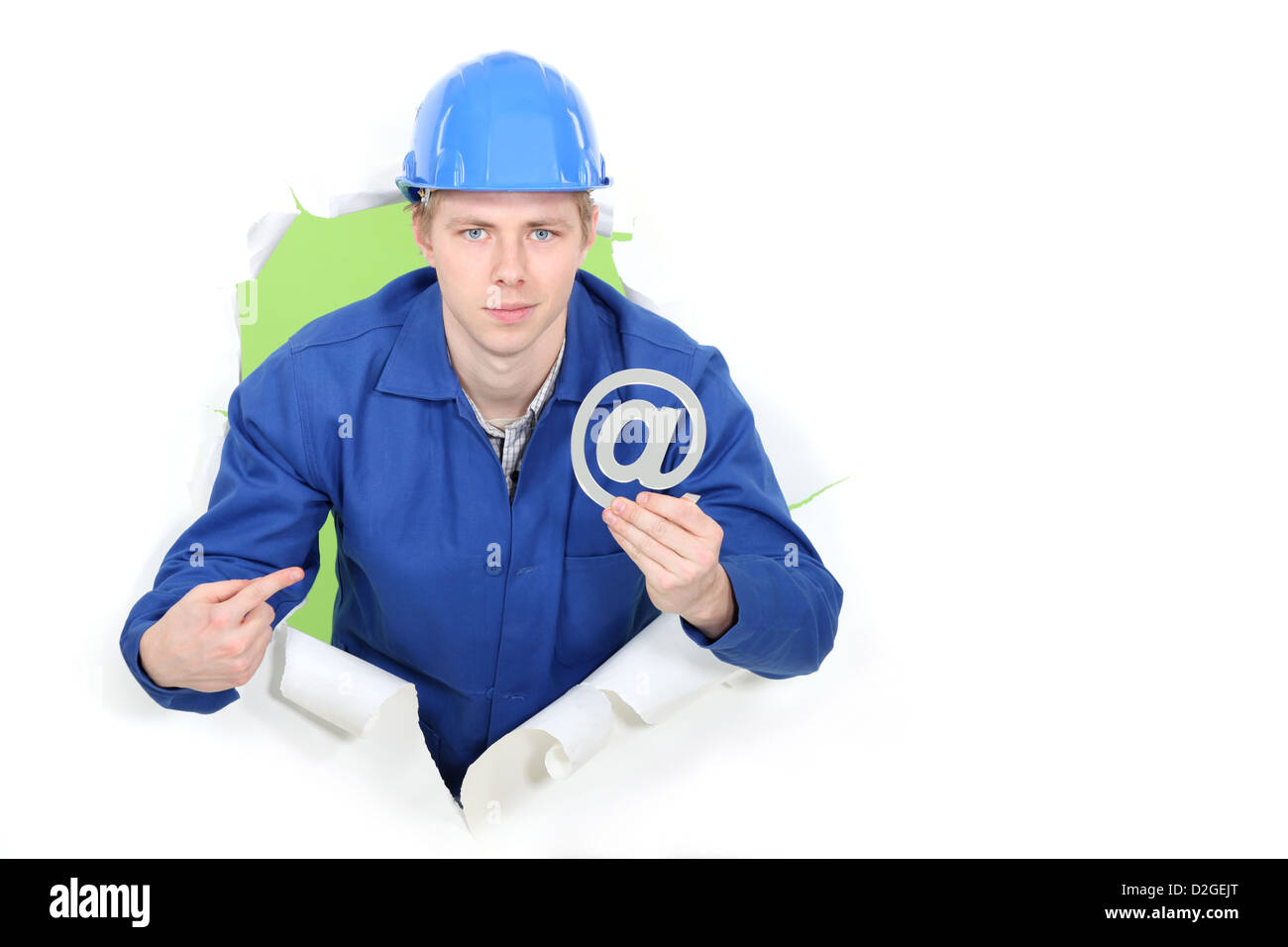 Builder promoting e-mail address - Stock Image