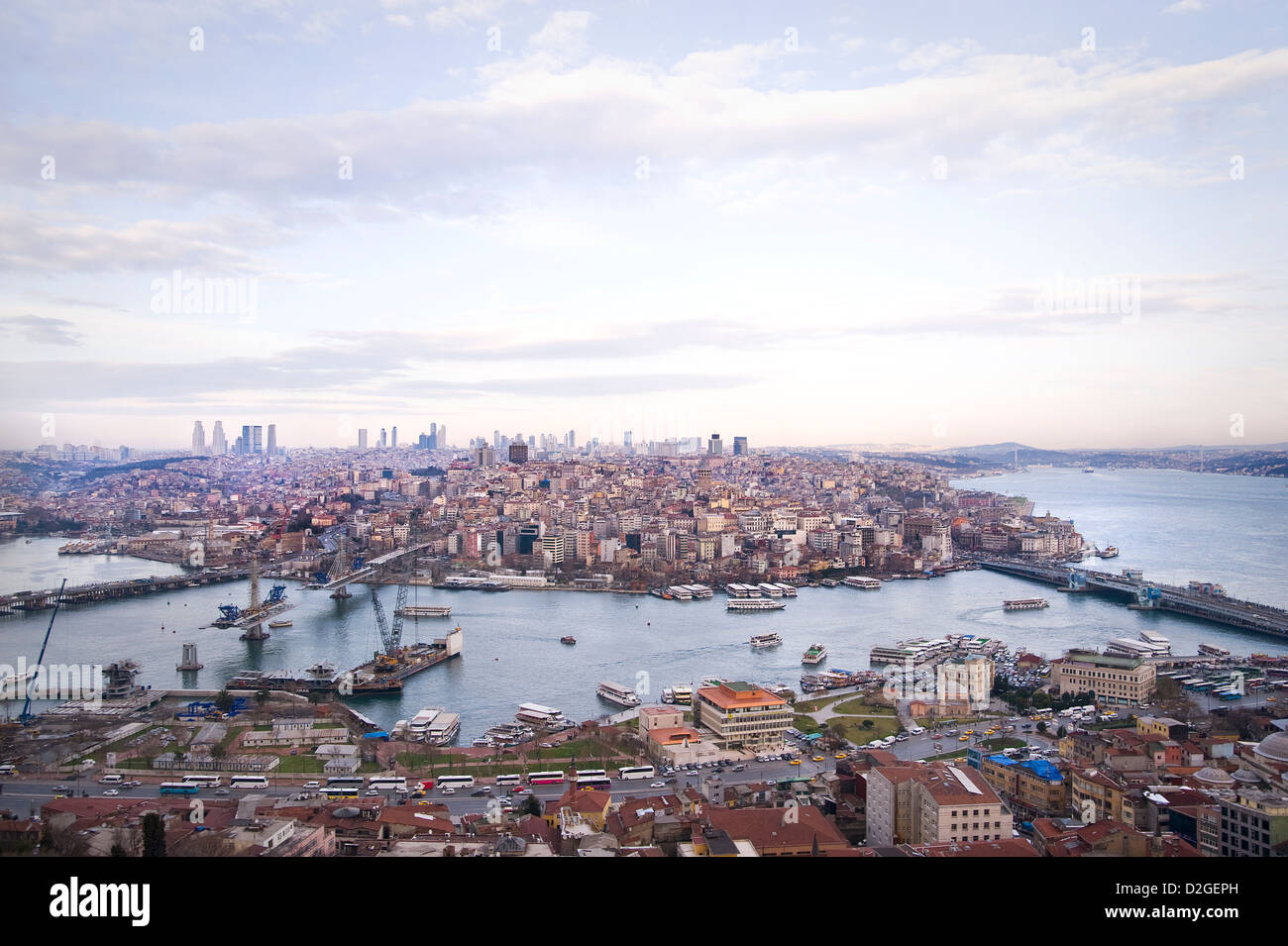 The Golden Horn and Bosporus from above is a stunning bird perspective. You can see also the famous Galata bridge. - Stock Image