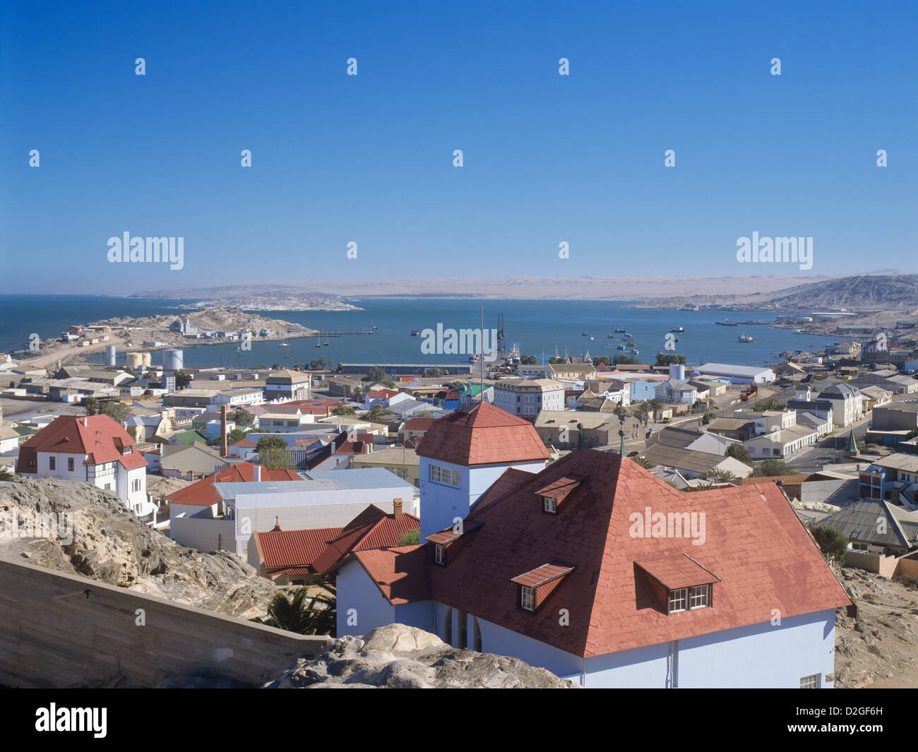 Republic of Namibia, Lüderitz, view of the rocky port town, dating back from german colonial times - Stock Image
