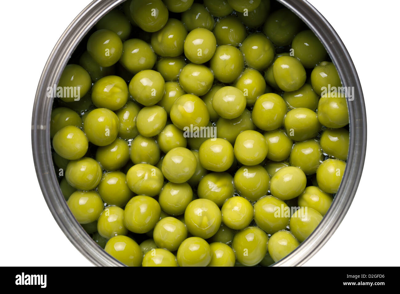 Canned green peas isolated on white background. Top view - Stock Image