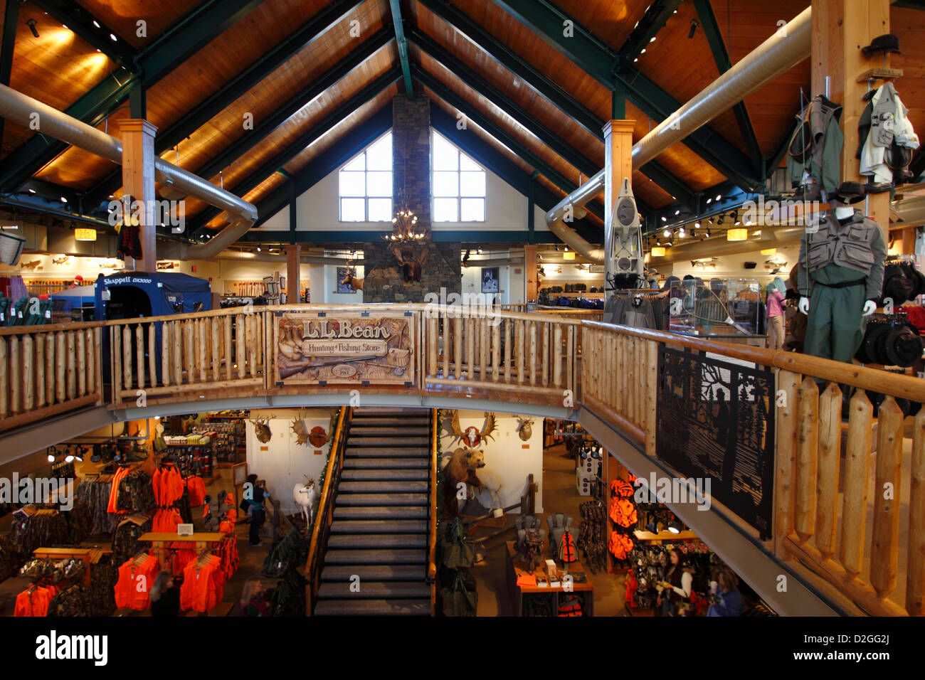 The interior of L.L. LL Bean store in Freeport Maine USA - Stock Image