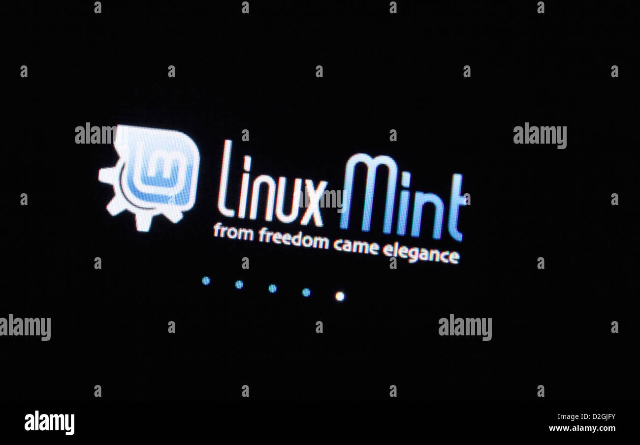 The very popular open source Linux Mint 14 operating system - installation showing opening and closing screen - Stock Image