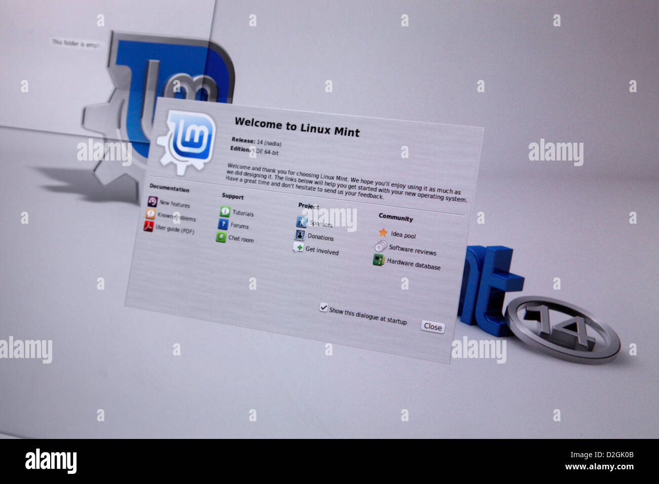 Linux Mint 14 operating system - installation - KDE desktop on first boot - Stock Image