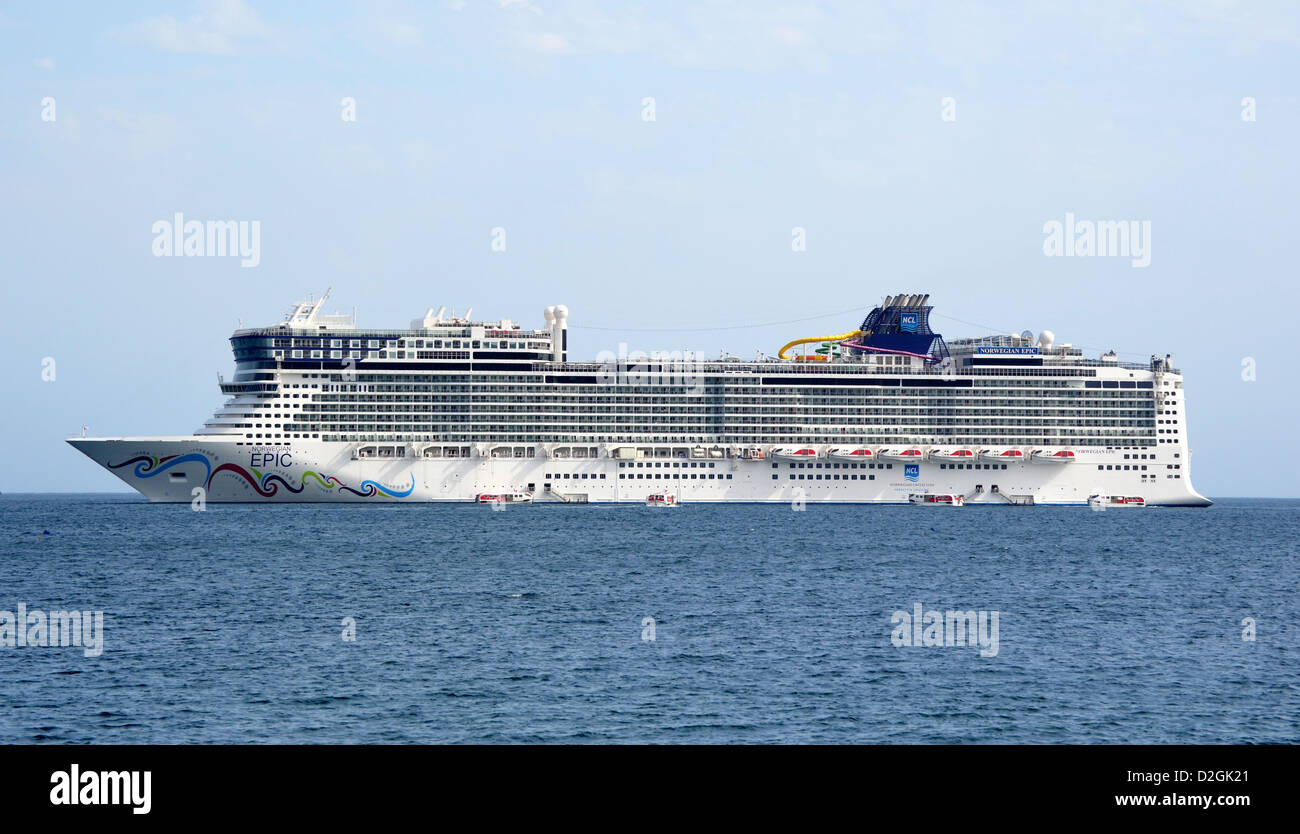 Norwegian cruise line ship Epic at anchor off the coast of Cannes, Italy - Stock Image