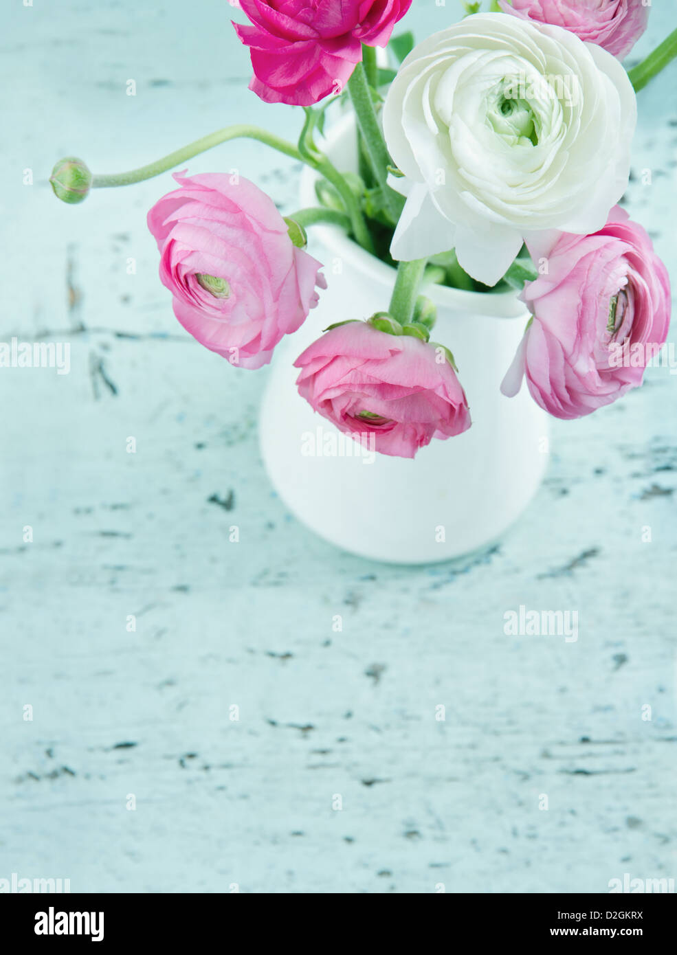 Pastel color flowers on shabby chic wooden light blue background - Stock Image