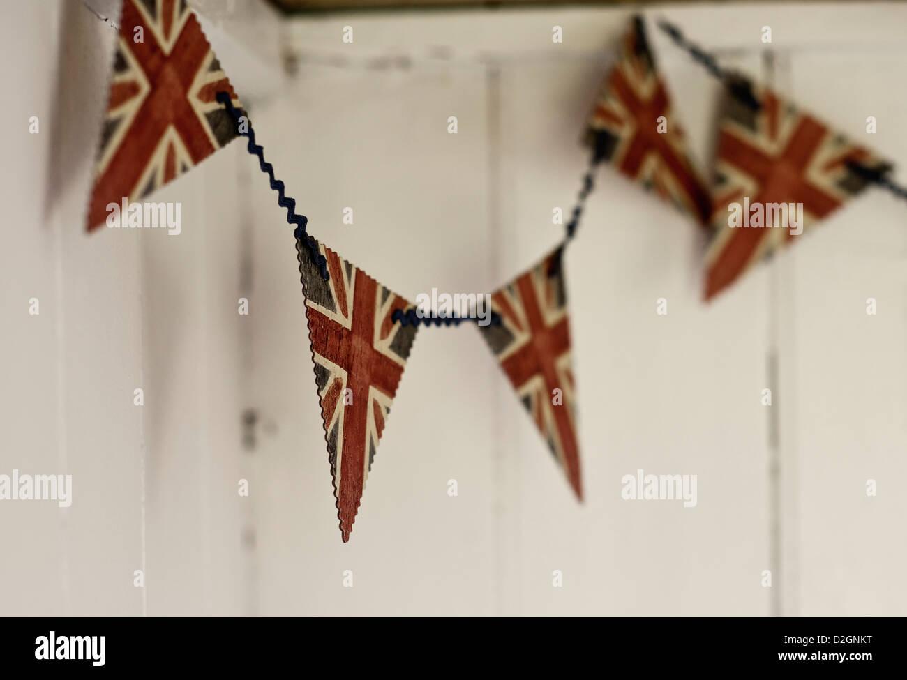 union Jack flag bunting - Stock Image
