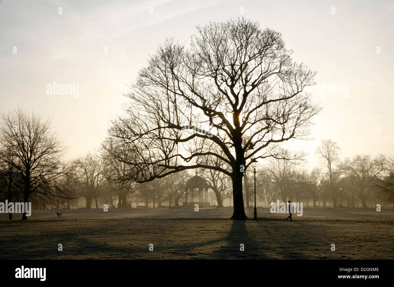 Frosty view of the bandstand on Clapham Common, Clapham, London, UK - Stock Image