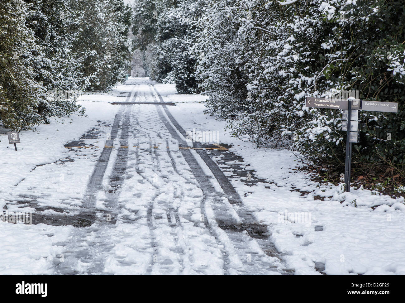 Tyre tracks and sign at a snow covered Kew Gardens, Greater London, UK - Stock Image