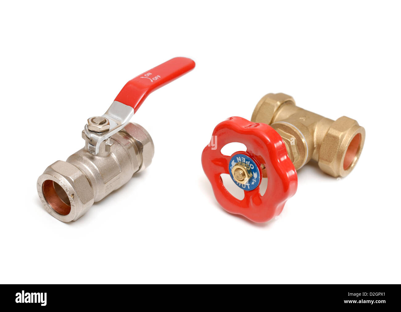 Ball valve and Gate valve plumbing - Stock Image