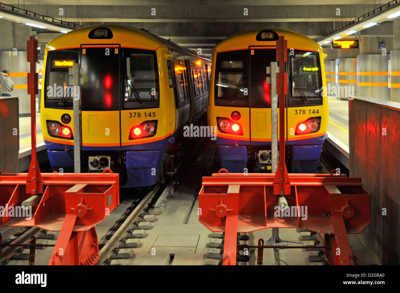 Overground trains at terminal station buffers Dalston Junction station London England UK - Stock Image