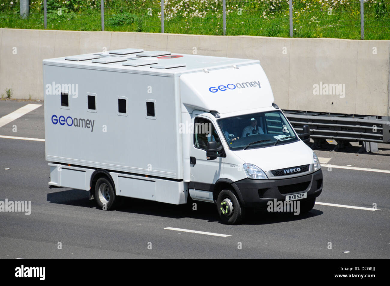 Prison van operated by Geoamey providing prisoner escort and custody services - Stock Image