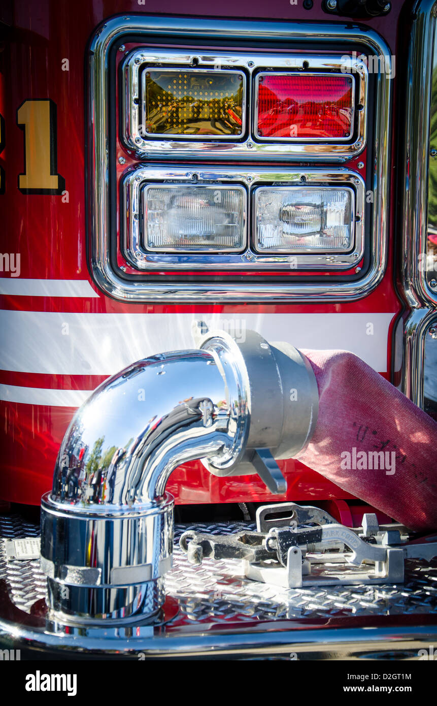 Close-up of a fire truck at Ellicott City Volunteer Fire Department - Stock Image