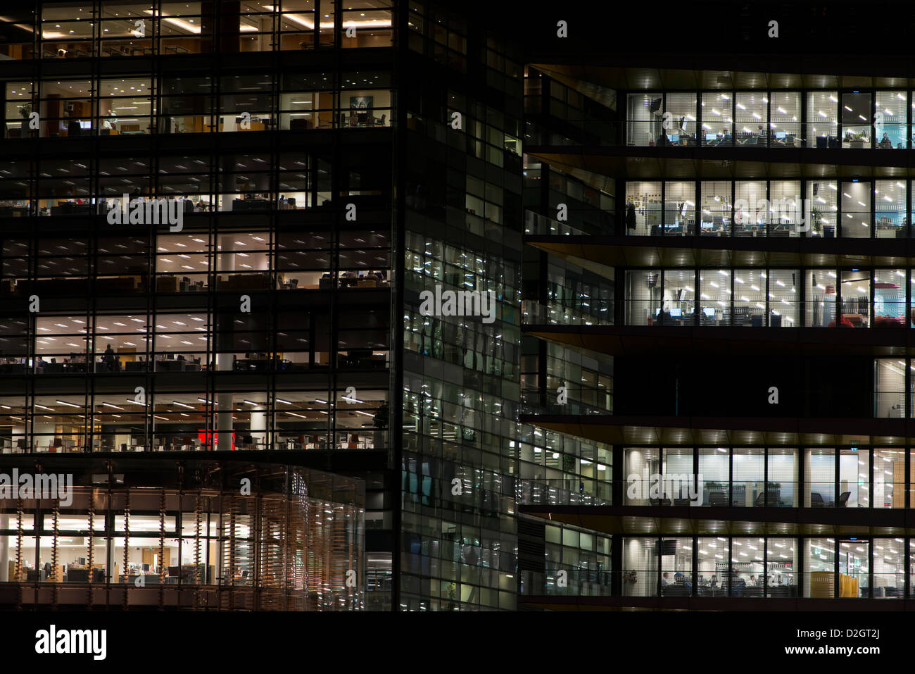 Offices at night in London - Stock Image