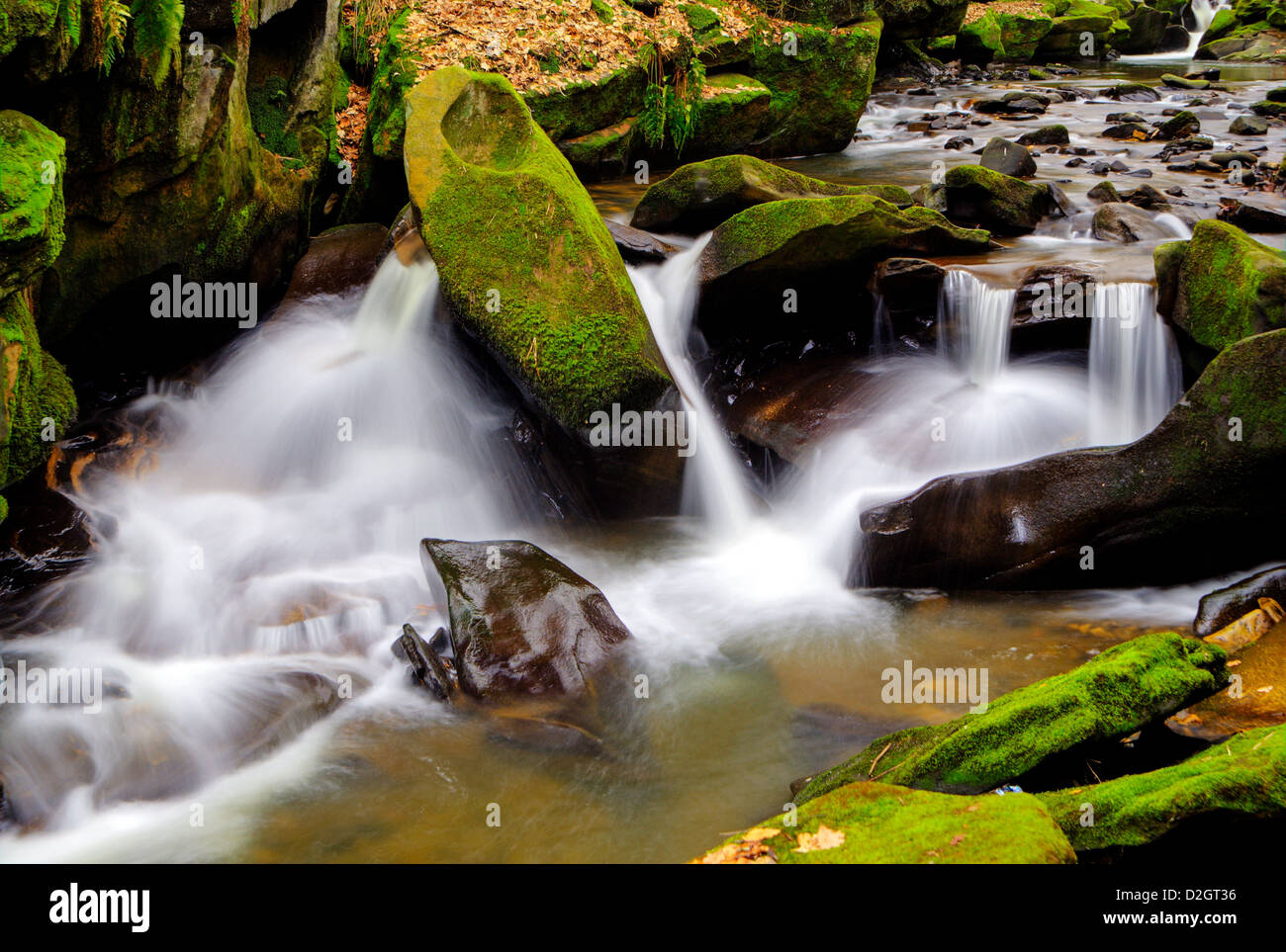 Closeup of the waterfalls at Healy Dell in Rochdale, Lancashire, United Kingdom - Stock Image