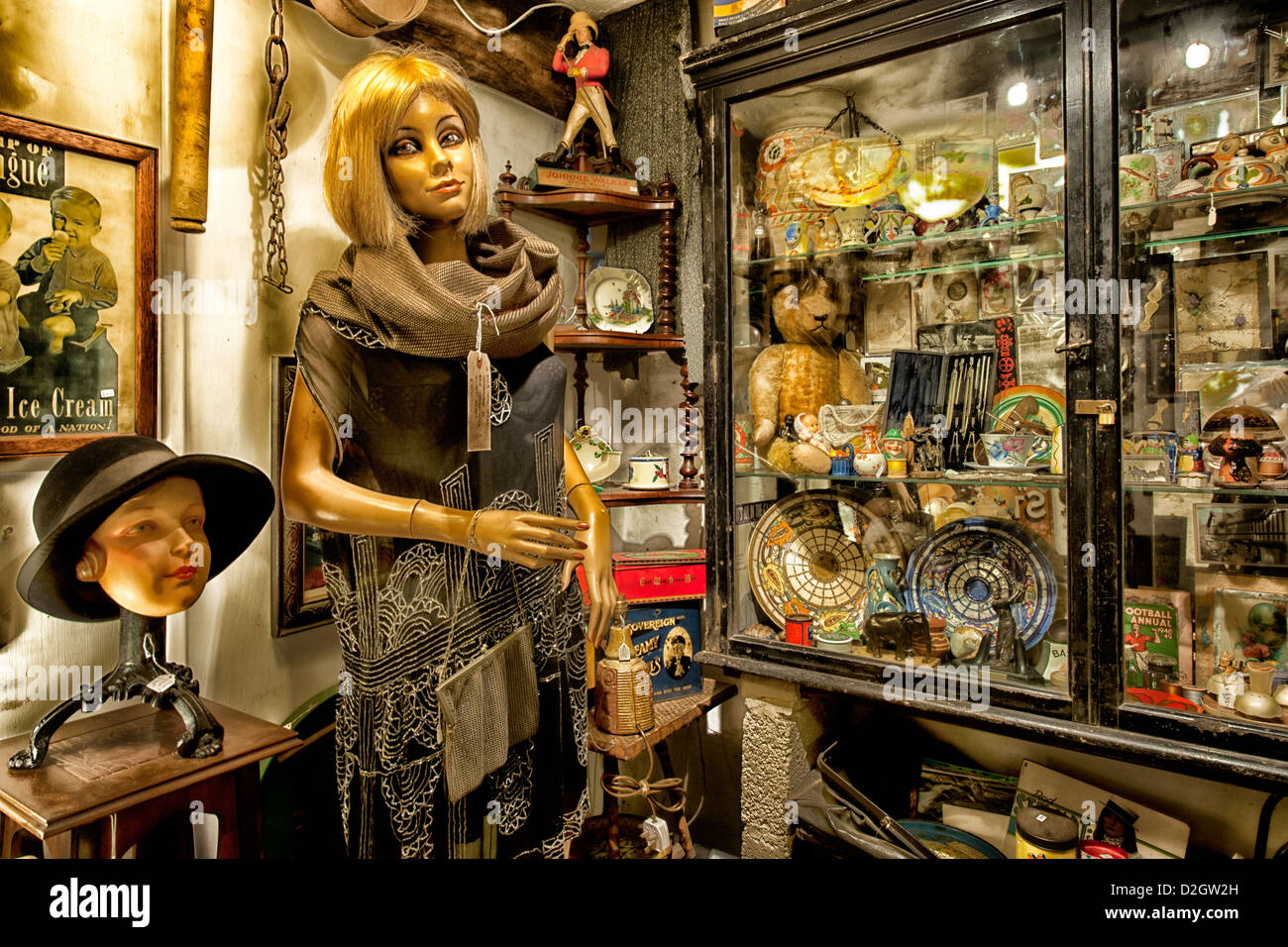 Bric-a-brac, antiques, collectibles on display for sale in shop, West Wales, Wales, UK. - Stock Image