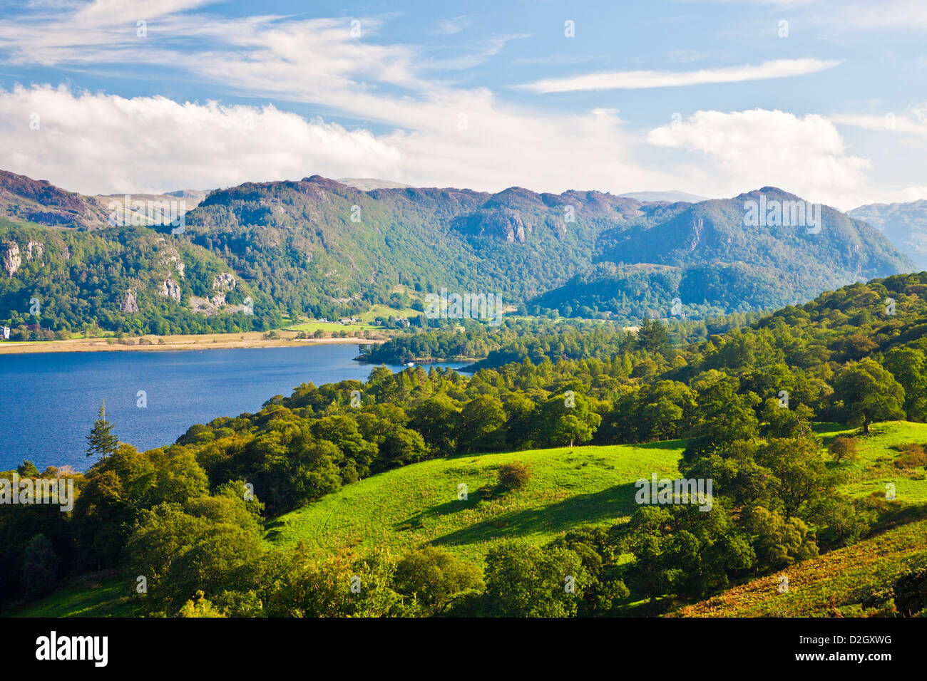 View over Derwent Water towards Walla Crag in the Lake District, Cumbria, England, UK - Stock Image