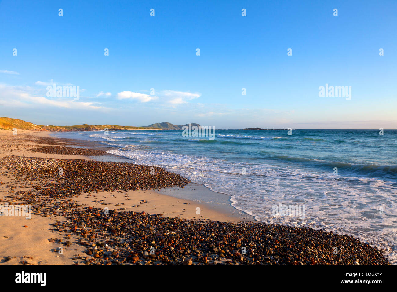 Scotland, Argyll & Bute, Inner Hebrides, Tiree View along The Maze Beach in late evening light - Stock Image