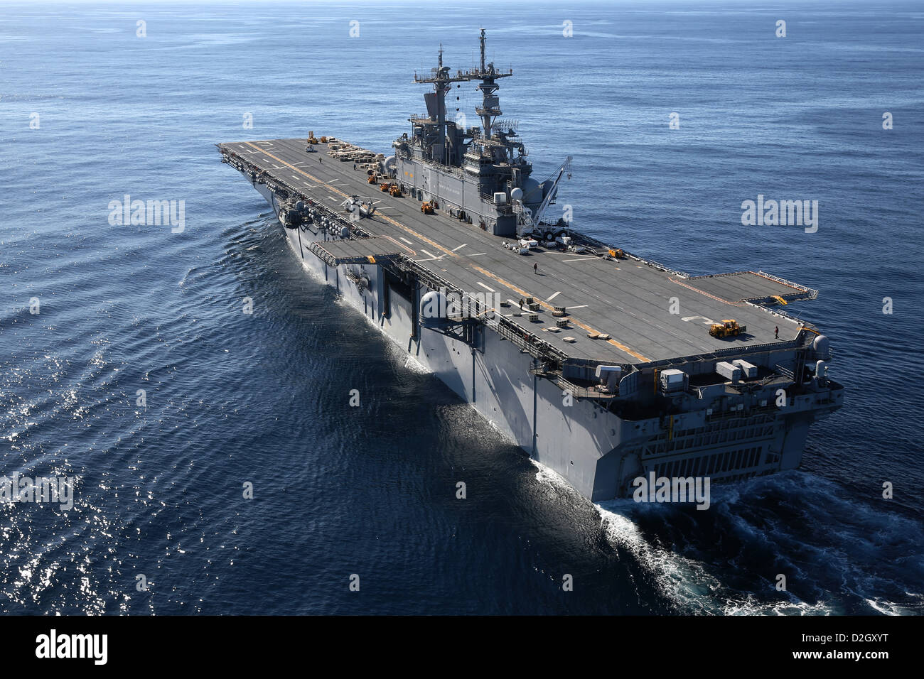 US Navy amphibious assault ship USS Kearsarge underway conducting sea trials in preparation for a deployment January - Stock Image