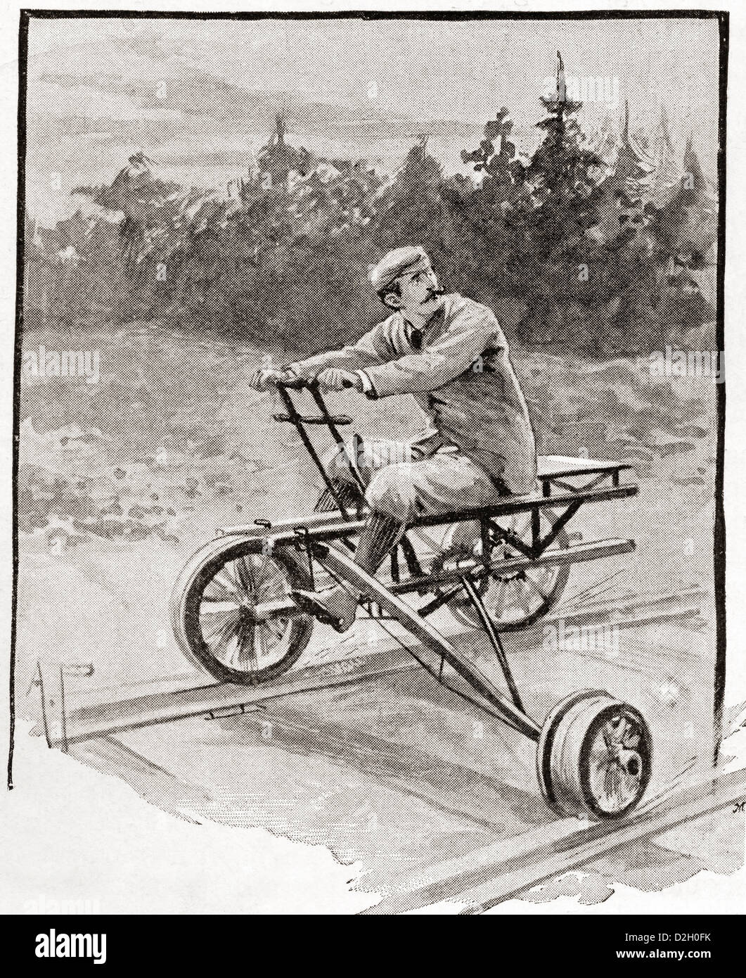 A nineteenth century three wheeled velocipede on a railroad track. - Stock Image