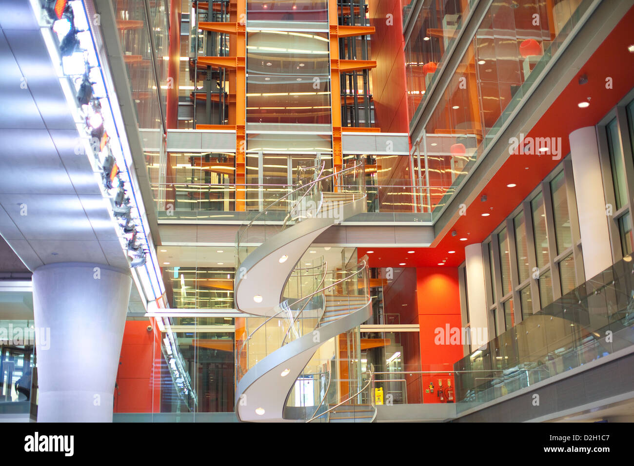 High-tech hub of BBC Global News newsroom, British Broadcasting House, Portland Place, London, United Kingdom - Stock Image