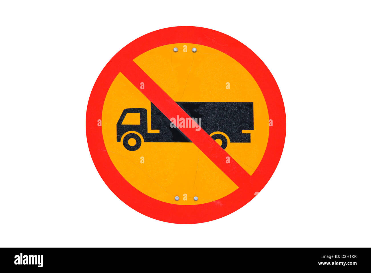 Grungy no trucks traffic sign isolated over white - Stock Image