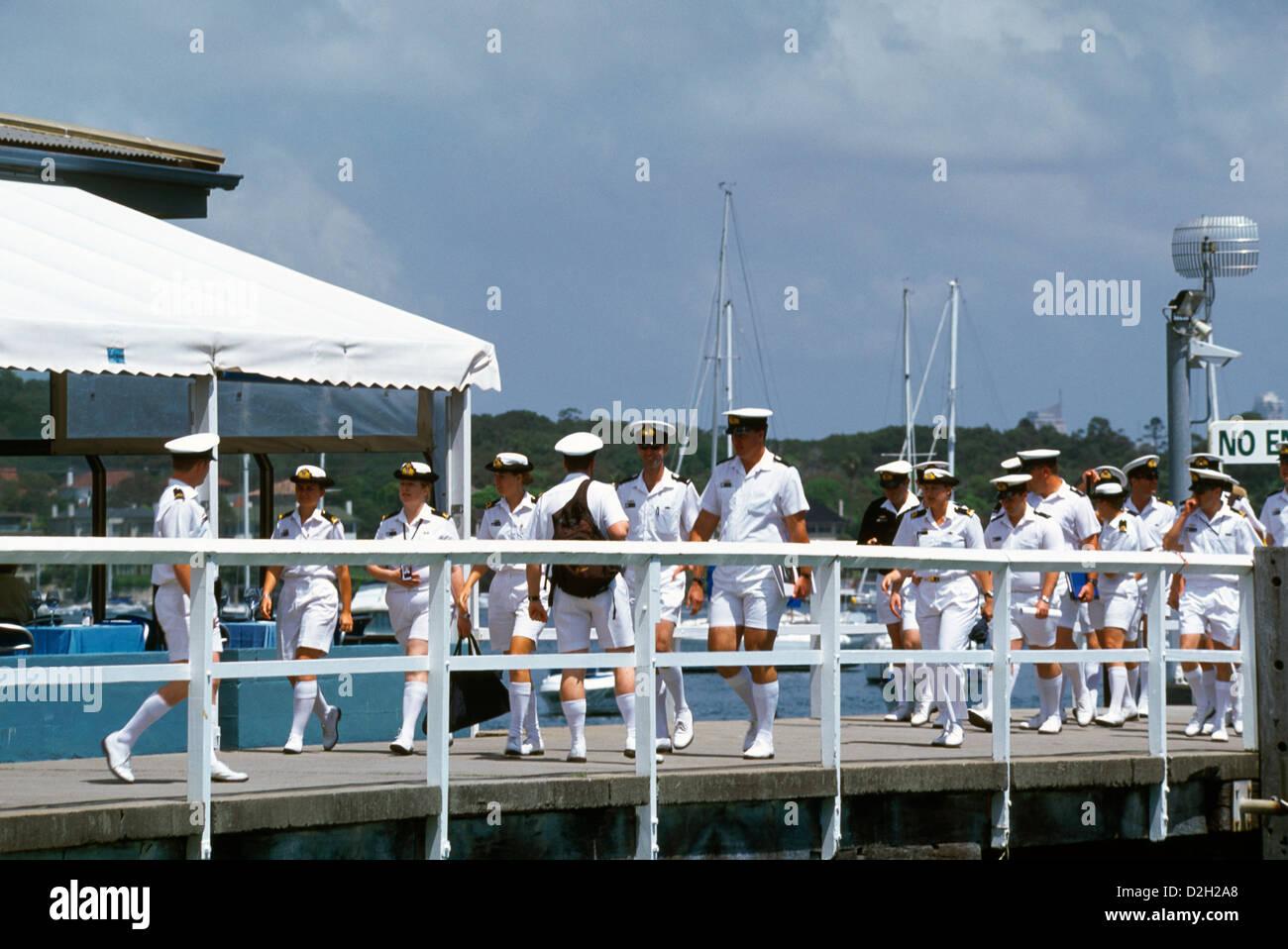 Sydney New South Wales Australia Watson's Bay Sailors On Pier - Stock Image