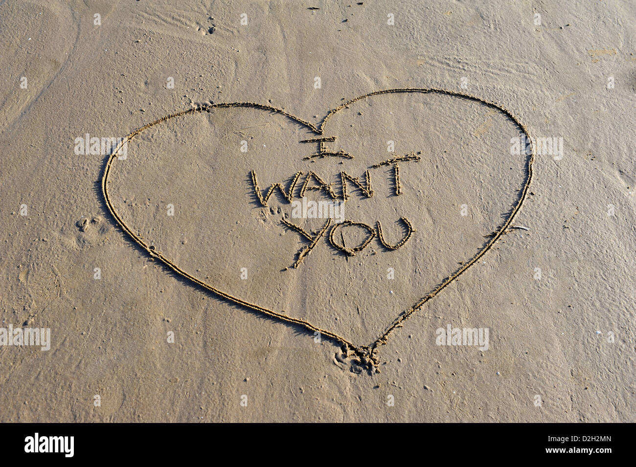Word I Want You written in sand - Stock Image